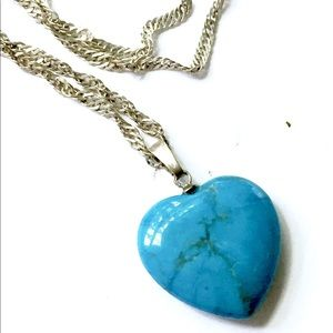 Turquoise Stone Heart Necklace Vintage